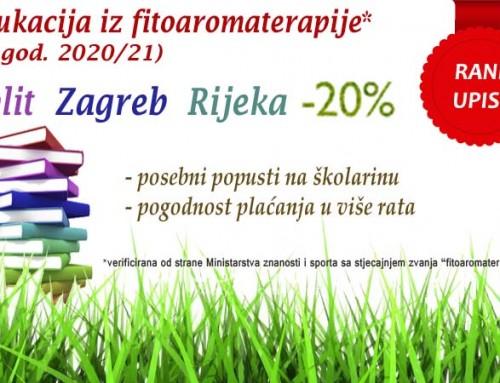 Fitoaromaterapija edukacija 2020 / 2021 – Split, Zagreb, Rijeka – 20% popusta na rani upis do 31.05.2020.